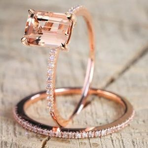 Jewelry - 💍🖤 18K Rose Gold Emerald Cut Ring Set 😍